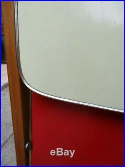 Fab Vintage Retro Mid Century Drinks Tea Trolley Folding Formica Red & Yellow
