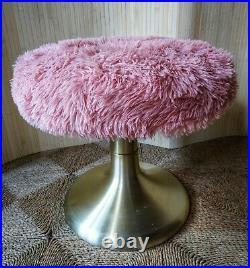 Fab Vintage Retro Mid Century Gold Aluminium Tulip Dressing Table Furry Stool