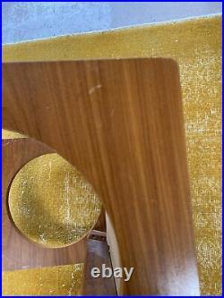 Fab Vintage Retro Mid Century Teak UniflexDressing Table Stool Cream Leather