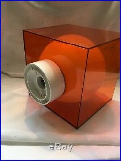 Fantastic Mid Century Cube Lamp Orange Perspex Pendant Light Vintage Retro Shade