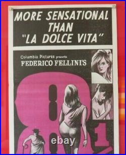 Federico Fellini's 8 1/2 ORIGINAL 1963 DAYBILL CINEMA FILM MOVIE POSTER RARE