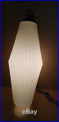 Funky Retro Vintage Mid Century White Decorative Plastic Swag Hanging Chain Lamp