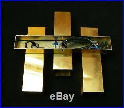 GAETANO SCIOLARI VINTAGE 60's GILT WALL SCONCE 3 LIGHTS RETRO MID CENTURY LAMP