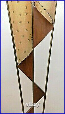 GREAT Vtg 50s Retro ATOMIC Mcm MAJESTIC Era Floor LAMP #2/2 withAsymmetric SHADES