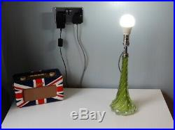 Glass TABLE LAMP by Val St Lambert in Green Mid Century, Vintage