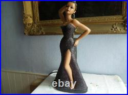 Gorgeous 1950s Chalkware Lady Lamp Tretchikoff Style Standing Figure
