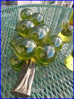 Green Grapes Lucite Glass with Candle holders with Lucite Tapered Candles Vintage L