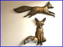 HANDMADE Vintage MID CENTURY Resin FOX Folk Wall ART MCM Retro MODERN Hanging