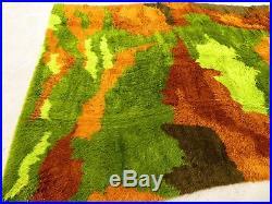 HUGE 11x8 MID CENTURY WOOL SHAG RYA AREA RUG Camo Jungle Green RETRO Vtg POP ART