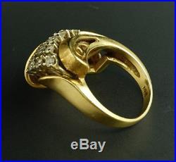 HUGE Diamond Spray 14K Yellow Gold Vintage Retro Mid-Century Heavy Cocktail Ring