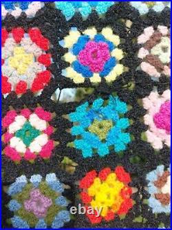 Handmade Vintage Multicoloured Mid century Retro Crotchet Blanket 180cm x 240cm
