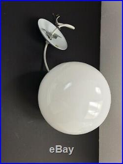 Hanging Glass Globe Light White Pendant Lamp Vintage Mid Century Modern Retro