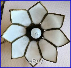 Hanging Tulip Lamp Rare 8 Panel White Mid Century Vintage Retro Glass Shade