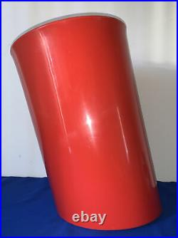 Heller Enzo Mari for Danese Asymmetrical Tilted Wastecan 1980s Trash Can Red