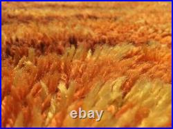 Huge 70s Vintage Orange Shag Carpet Rug Seventies Bergoss Netherlands 2x3 m