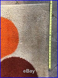 Huge Orange Yellow Vintage Rug 2 x 3 m Panton MCM Retro Carpet 6'8 x 9'9 ft