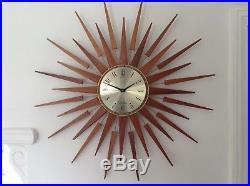 Huge Seth Thomas Vintage Retro Mid Century Modern Sunburst Starburst Wall Clock