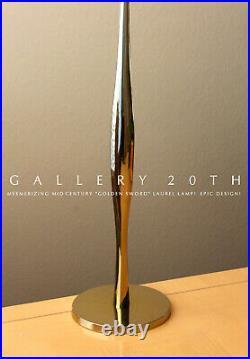 Iconic MID Century Modern Laurel Golden Sword Brass Table Lamp! 1960 Vtg Light