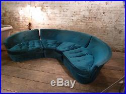 Italian Teal Velvet Mid Century Modular Sofa Retro Vintage Antique