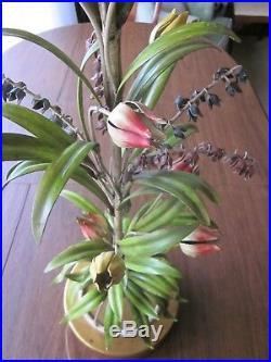 Italy Italian Tole Toleware Art Lamp Multicolored Metal Flowers VINTAGE 1960s