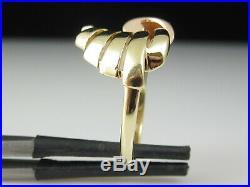 JABEL 14K Ring Rose Yellow Gold Estate Two-Tone Vintage Retro Mid Century Modern