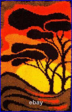 JUNGHANS wool long pile wall hanging rug orange trees vintage Mid-Century 70's