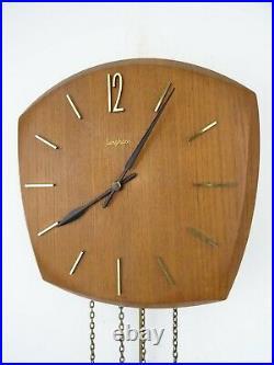 Junghans German Vintage Design Mid Century TEAK 8 day Retro Wall Clock