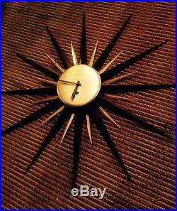 KILLER! VINTAGE STARBURST WALL CLOCK MID CENTURY MODERN BLACK & GOLD Retro