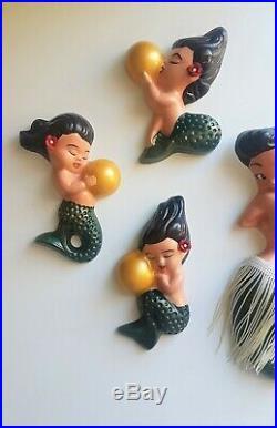 Kitsch Hawaiian Mermaid Family Wall Plaque Vintage style chalkware, Tiki, 50s
