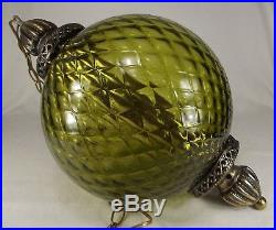 LARGE SWAG LAMP rare green glass hanging vintage Mid Century RETRO MCM ceiling