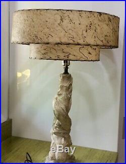 LARGE Vintage Retro 2 Tier Fiberglass Lamp Shade Atomic Mid Century Modern