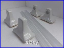 LOT 2 Pairs Retro White Ceramic Towel Bar Holders Rods Rack Set Mid Century