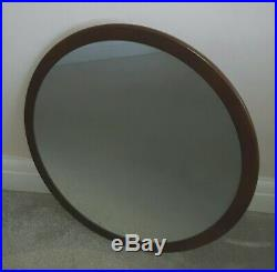 Large Mid Century Circular Round Wall Mirror Vintage Retro Teak 1960s/70s