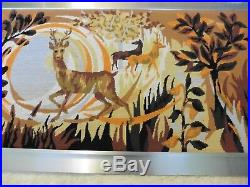 Large Retro 1960s Wall Tapestry Picture Deer Kitsch Stag Mid Century Abstract