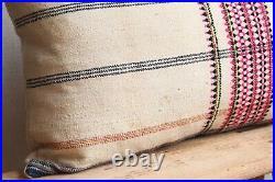 Large Vintage Indian Wool Kilim Cushion 18 x 27 Mid Century Ethnic