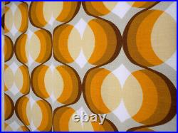 Large Vintage fabric curtains drapes orange brown Mid-Century Pop Art 60's 70's