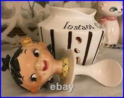 Lefton Pixieware Holt Howard Instant Coffee Jar, Repaired Top