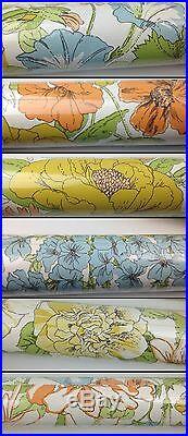 Lot of 2 Sealed Vintage 28 Wallpaper Rolls Floral Fower Power Retro 70s 60s NIP