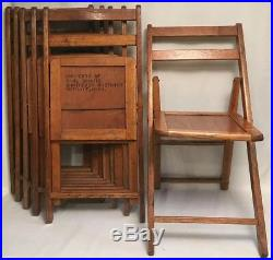 Lot of 6 Retro VTG Mid Century Natural Wood Wooden FOLDING CHAIRS Girl Scouts