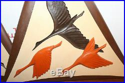 Lot of Two Mid Century Pair Vintage Ducks Arabesque Wood Wall Decor BURWOOD 16