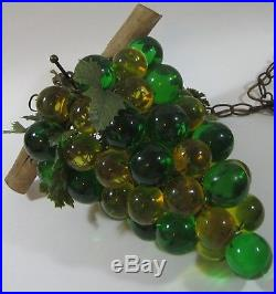 Lucite Grape Cluster Hanging Lamp Green Acrylic Mid Century Swag Light Retro Vtg