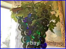 Lucite Grapes Swag Light Hanging Lamp Blue Green Blue Large Vtg Atomic MCM