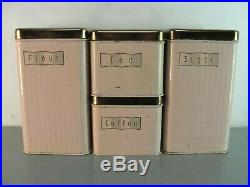MAID OF HONOR COPPER TOP PINK 1950's RETRO CANISTER 4pc SET MID CENTURY VINTAGE