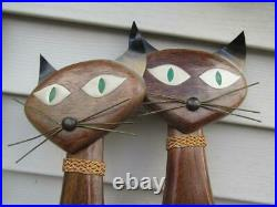 MCM 1961 Teak Wood Cats Siamese Long Neck Masketeers with Green Eyes 28 Wall Ar