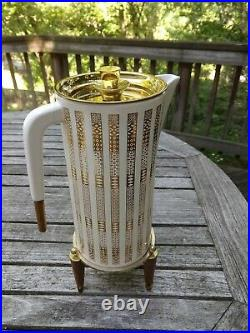 MCM GEORGES BRIARD LINOMETRIC COFFEE POT withWARMER GOLD BRASS DETAILS WOOD SIGNED