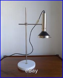 MID-CENTURY ITALIAN CHROME & MARBLE DESK LAMP Retro Vintage Stilnovo Style
