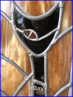 MID CENTURY MODERN CAT Retro STAINED GLASS WINDOW PANE Vintage Leaded Framed Art