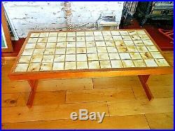 MID CENTURY MODERN Large Solid Tile Top Teak Coffee Table