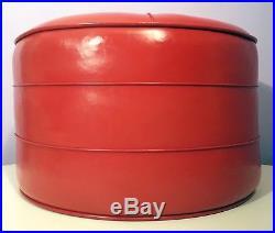 MID-CENTURY MODERN OTTOMAN FOOT STOOL BIG ROUND RETRO RED VINYL 1960s VINTAGE