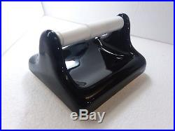 MID CENTURY MODERN Vintage Black Retro Ceramic Toilet Paper TP Holder with Rod